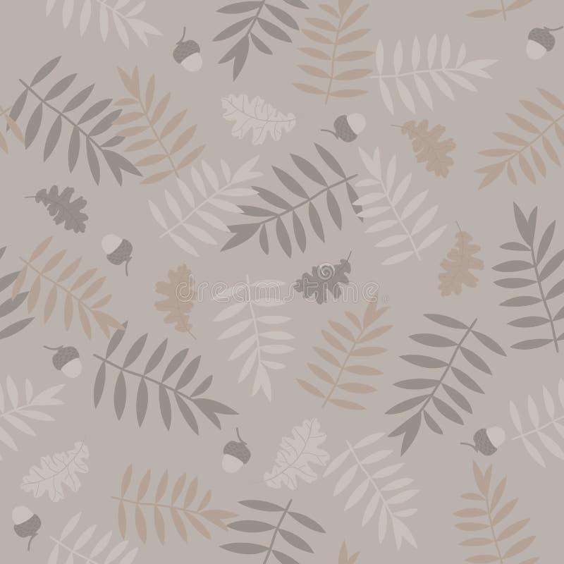 Безшовная картина с листьями и жолудями стоковое фото rf