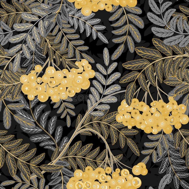 Безшовная картина с листьями и rowanberry зол-ягоды также вектор иллюстрации притяжки corel иллюстрация штока