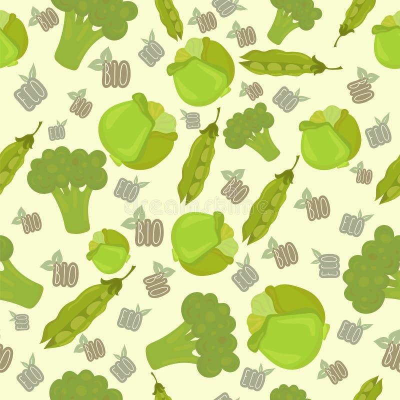 Безшовная картина с капустой, зелеными горохами, брокколи Eco, био ба иллюстрация вектора