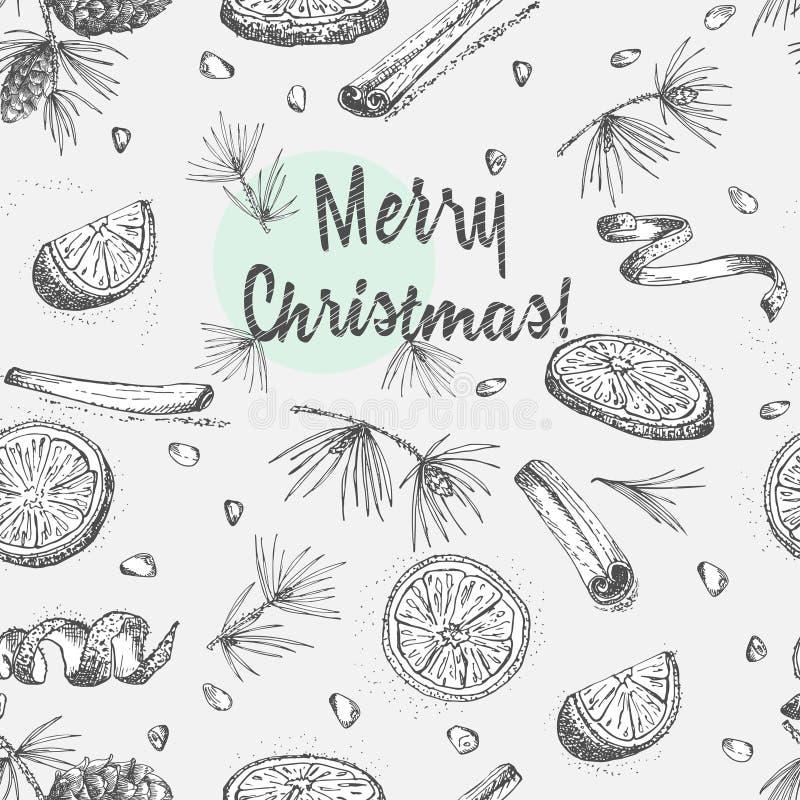 Безшовная картина с картиной специй зимы рождества руки вычерченной Традиционно использованный в сделанных десертах, горячее обду иллюстрация штока
