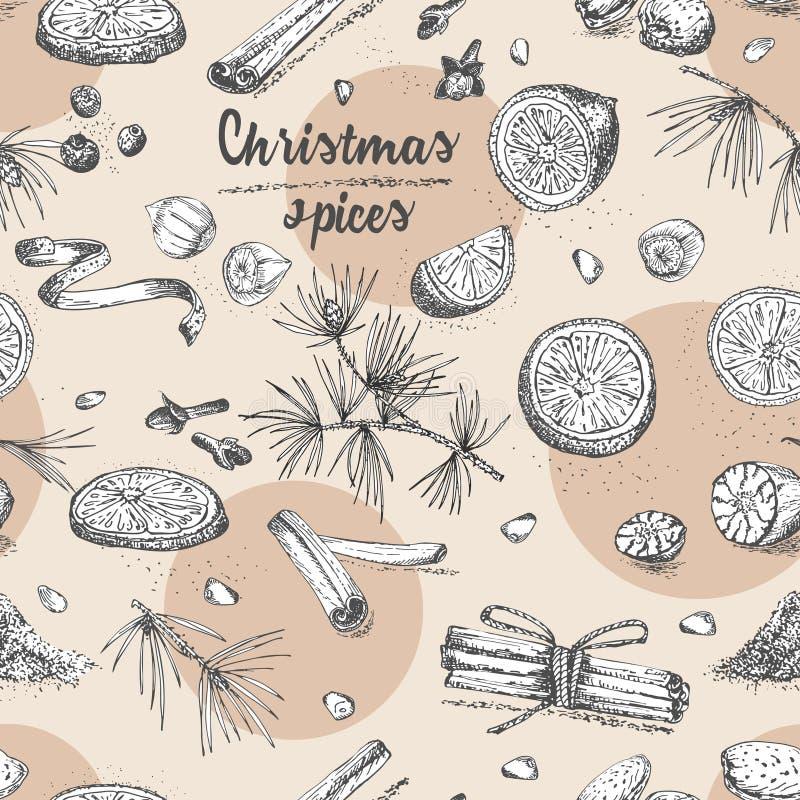 Безшовная картина с картиной специй зимы рождества руки вычерченной Традиционно использованный в сделанных десертах, горячее обду иллюстрация вектора
