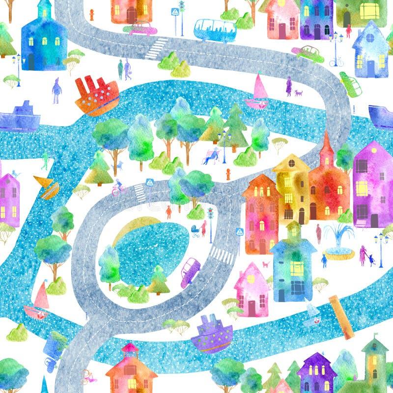Безшовная картина с картой, дорогой, парком, рекой, озером и шлюпкой города иллюстрация штока