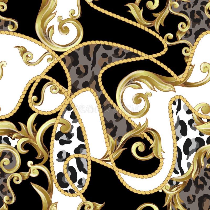 Безшовная картина с кожей леопарда и золотыми барочными элементами вектор бесплатная иллюстрация