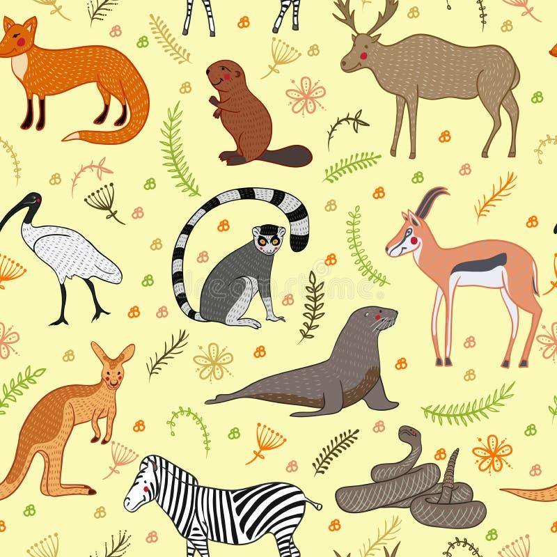 Безшовная картина с комплектом вектора животных шаржа милым стиль иллюстрации вектора нарисованный вручную Зебра, лиса, бобр, ант бесплатная иллюстрация