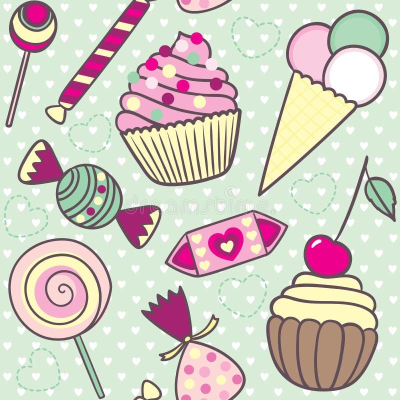Безшовная картина с конфетами шаржа милыми, мороженое вектора и иллюстрация вектора