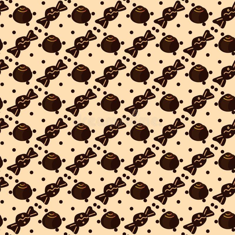 Безшовная картина с конфетами шоколада на беже бесплатная иллюстрация