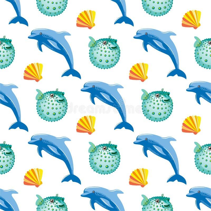Безшовная картина с кораллом шарика дельфина и рыб иллюстрация вектора