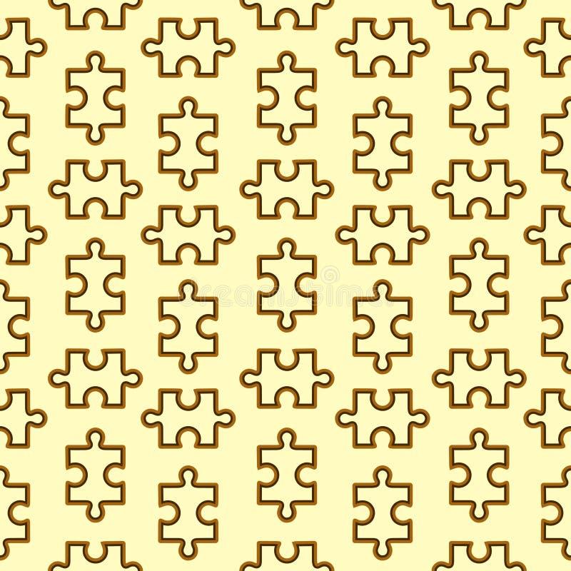 Безшовная картина с коричневой деревянной головоломкой на бежевой предпосылке иллюстрация вектора