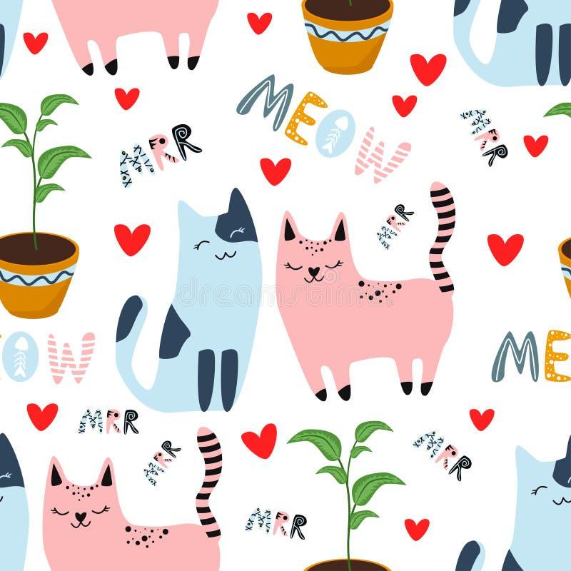 Безшовная картина с котами в любов на белой предпосылке - иллюстрации вектора, eps иллюстрация штока
