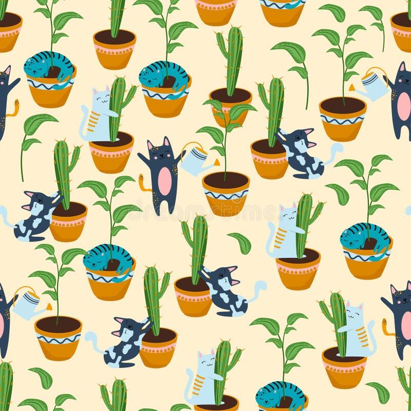Безшовная картина с котами и цветочными горшками - иллюстрацией вектора, eps иллюстрация штока