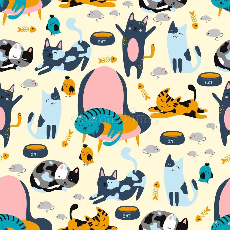 Безшовная картина с котами на стульях и мышами на поле - иллюстрации вектора, eps иллюстрация вектора