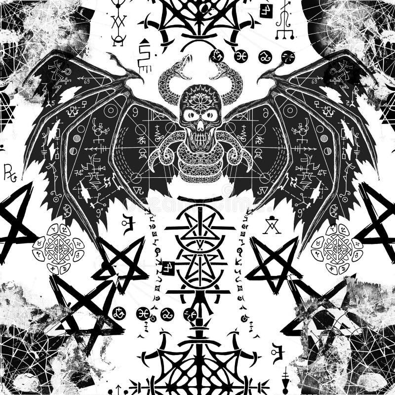 Безшовная картина с, который подогнали демоном, загадочными символами и черепом дьявола на белизне иллюстрация штока