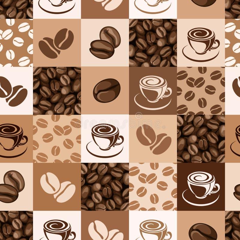 Безшовная картина с кофейными зернами и чашками. иллюстрация вектора