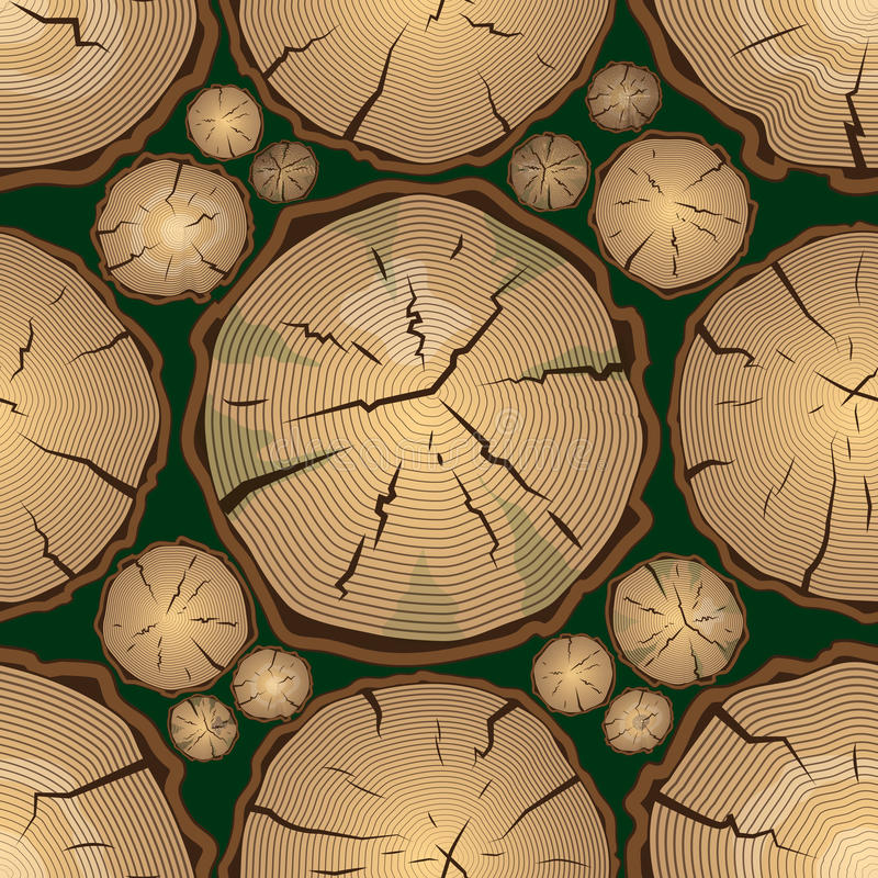 Безшовная картина с кольцами дерева иллюстрация штока