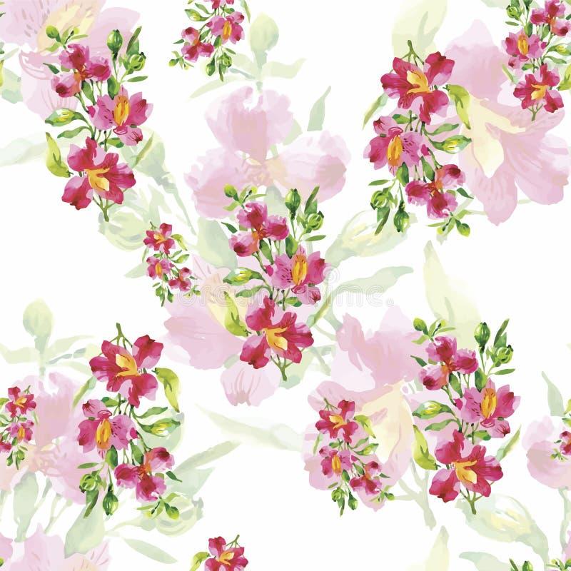 Безшовная картина с красивыми цветками, картина акварели иллюстрация штока