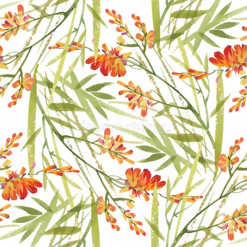 Безшовная картина с красивыми цветками, картина акварели иллюстрация вектора