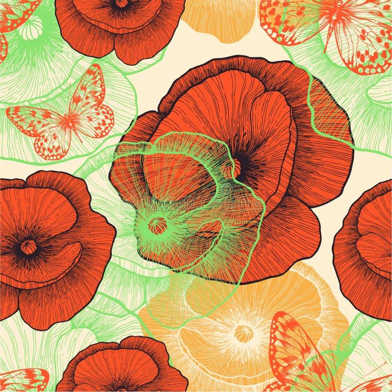 Безшовная картина с красными маками и бабочками, иллюстрация штока