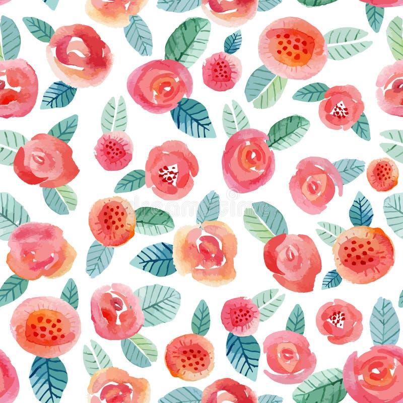 Безшовная картина с красными розами и некоторыми флористическими элементами бесплатная иллюстрация