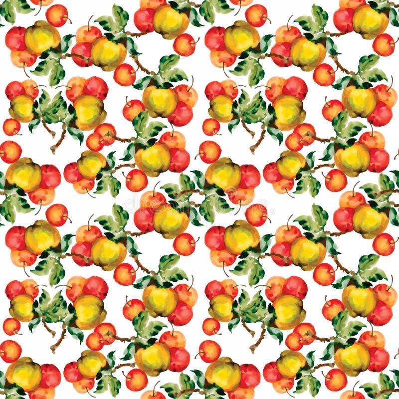 Безшовная картина с красными яблоками и листьями также вектор иллюстрации притяжки corel стоковые изображения