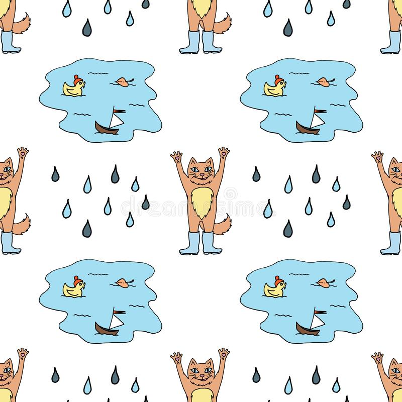 Безшовная картина с красным котом в резиновых ботинках, лужице и падениях дождя Красочный эскиз r иллюстрация штока