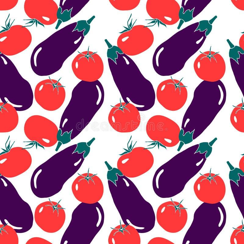Безшовная картина с красным томатом и фиолетовым баклажаном Простой современный плоский стиль иллюстрация вектора