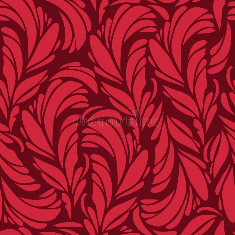 Безшовная картина с красным цветом и пер золота иллюстрация вектора