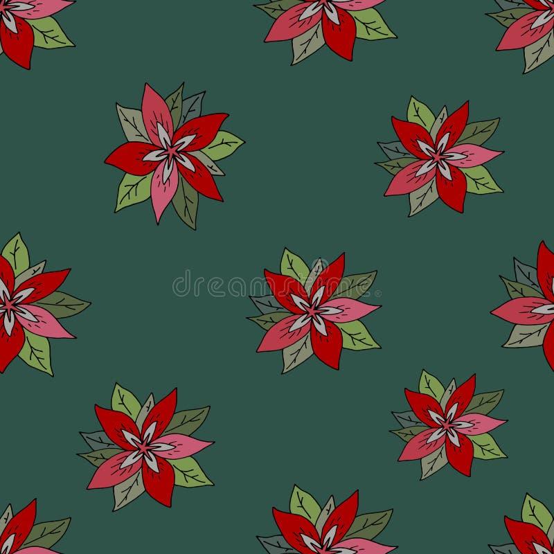 Безшовная картина с красным poinsettia на зеленой предпосылке предпосылка цветет зеленый красный цвет бесплатная иллюстрация