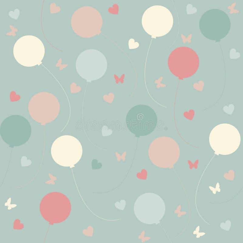 Безшовная картина с красочными воздушными шарами и сердцами на l иллюстрация вектора