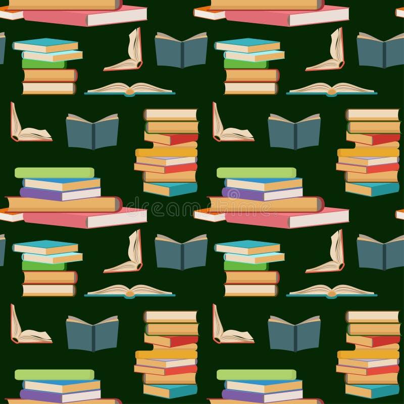 Безшовная картина с красочными книгами, штабелировать или кучами книг на темной ой-зелен предпосылке иллюстрация вектора
