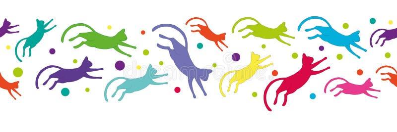 Безшовная картина с красочными котами летая иллюстрация вектора