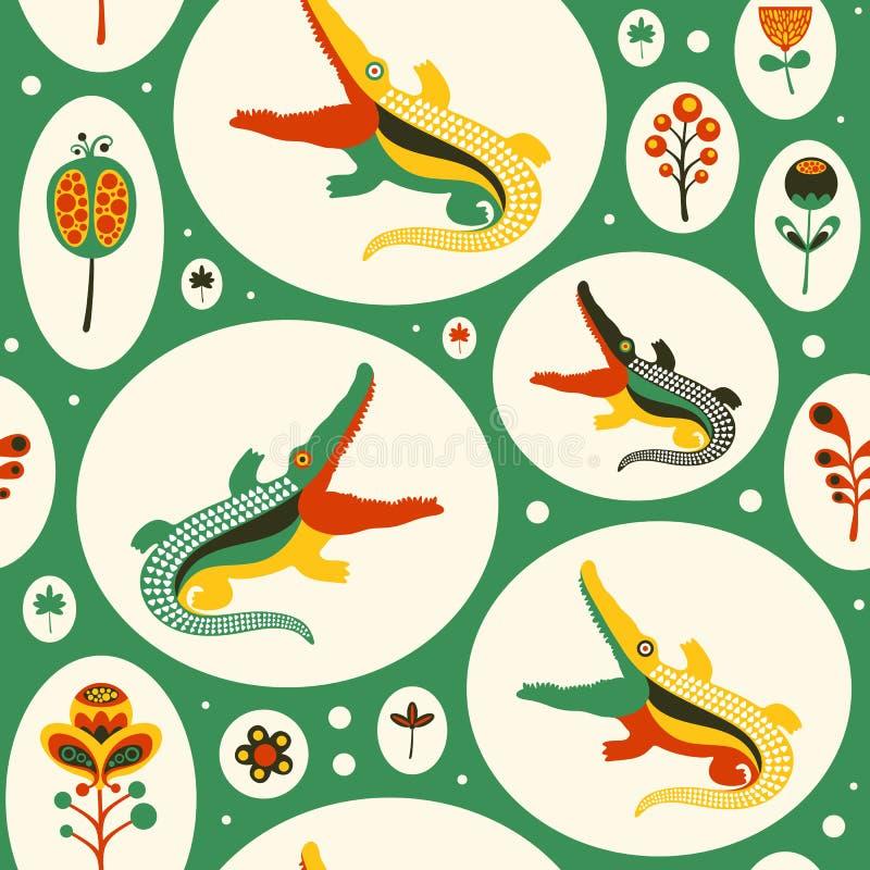Безшовная картина с красочными крокодилами и цветками бесплатная иллюстрация
