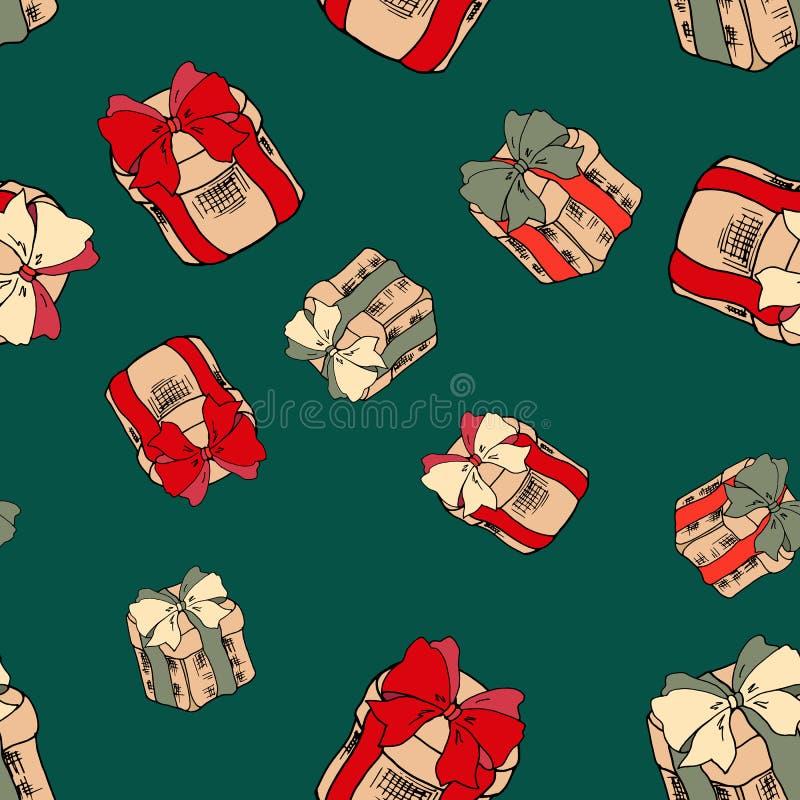 Безшовная картина с красочными подарками на зеленой предпосылке Подарки на рождество с красными лентами Картина с Рождеством Хрис иллюстрация штока