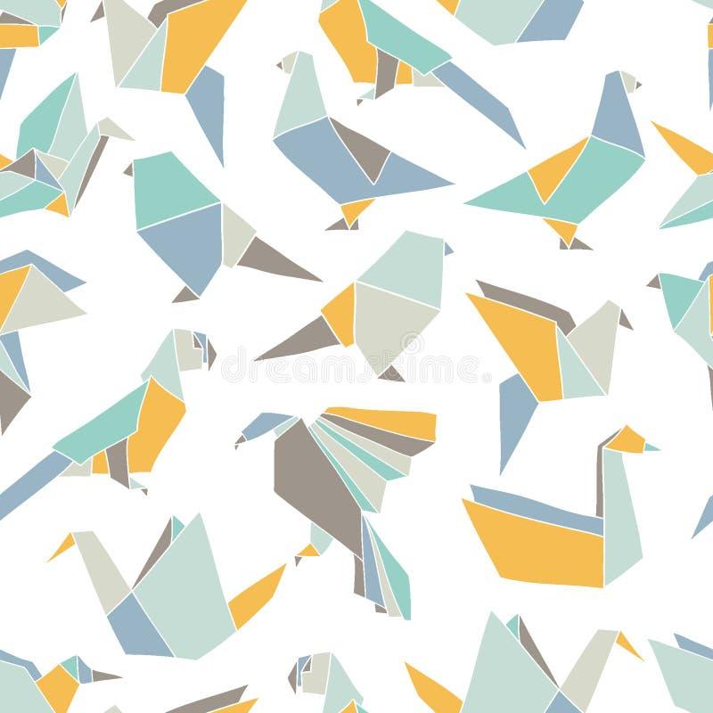 Безшовная картина с красочными птицами origami иллюстрация штока