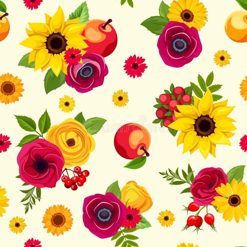 Безшовная картина с красочными цветками осени также вектор иллюстрации притяжки corel бесплатная иллюстрация