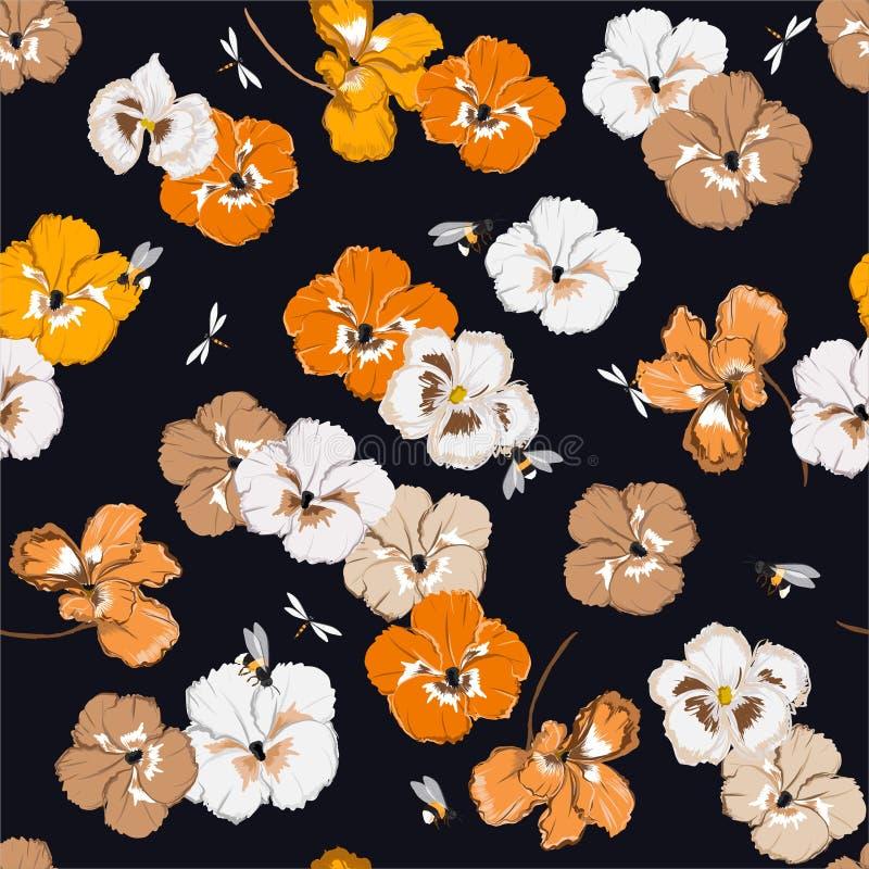 Безшовная картина с красочными цветками pansy в wu=ith сада путает пчелы и dragonfly в dor дизайна иллюстрации вектора бесплатная иллюстрация