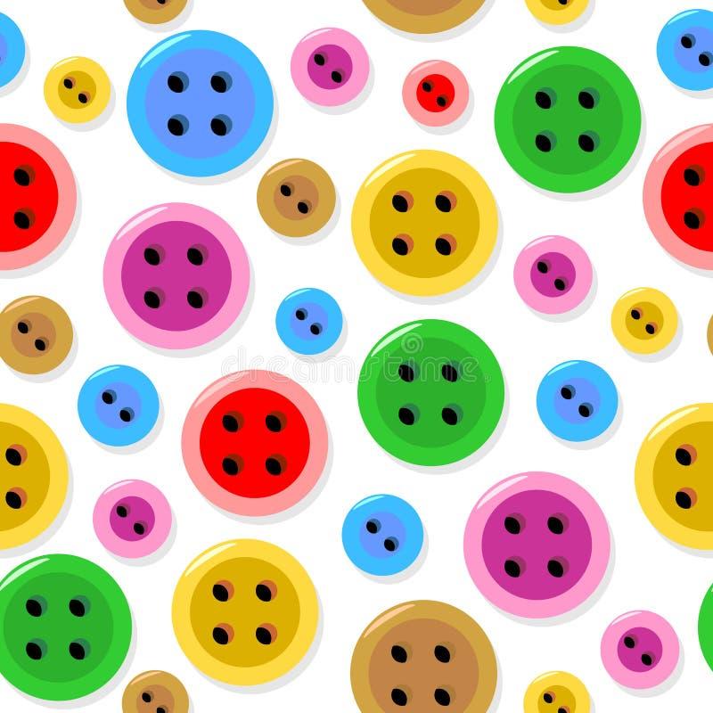 Безшовная картина с красочными шить кнопками иллюстрация штока