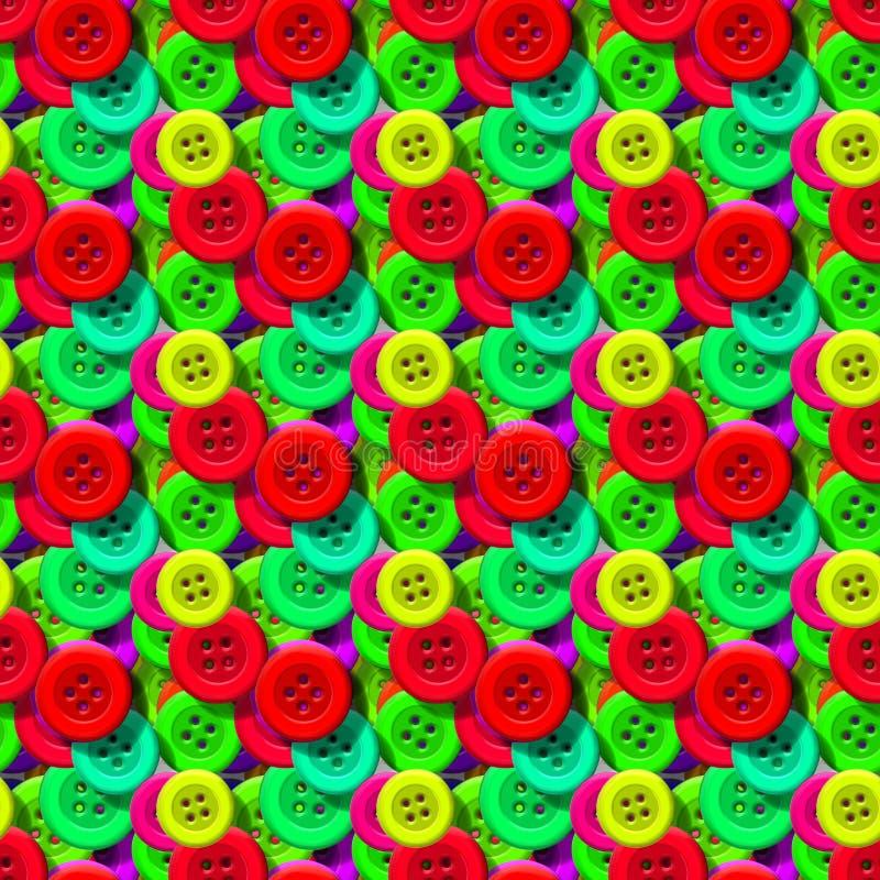 Безшовная картина с красочными шить кнопками бесплатная иллюстрация