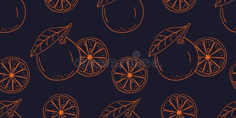 Безшовная картина с крася плодом руки вектора вычерченным оранжевым иллюстрация штока
