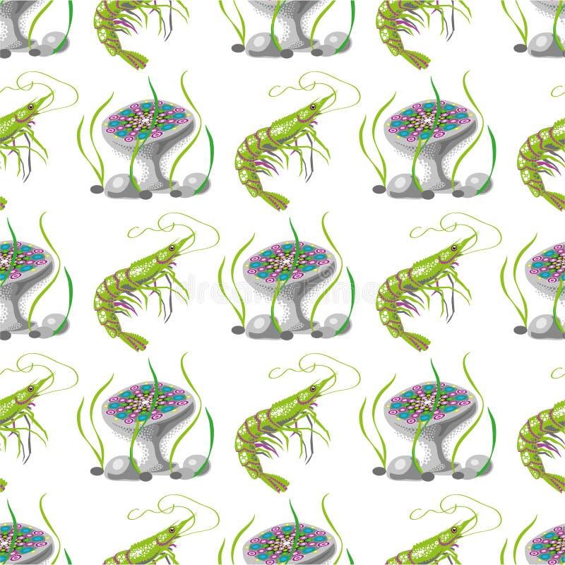 Безшовная картина с креветкой и медузами иллюстрация вектора