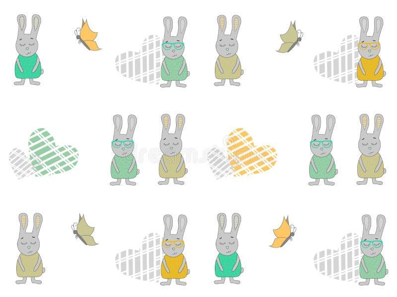 Безшовная картина с кроликами, сердцами и бабочками шаржа Иллюстрация вектора зайчика иллюстрация штока