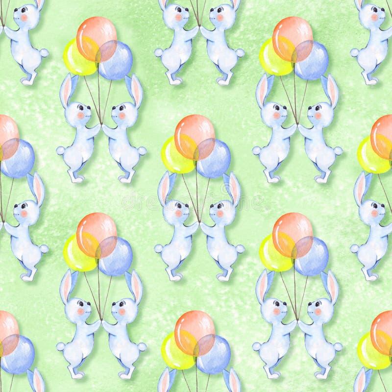 Безшовная картина с кроликами шаржа белыми и воздушными шарами 2 бесплатная иллюстрация