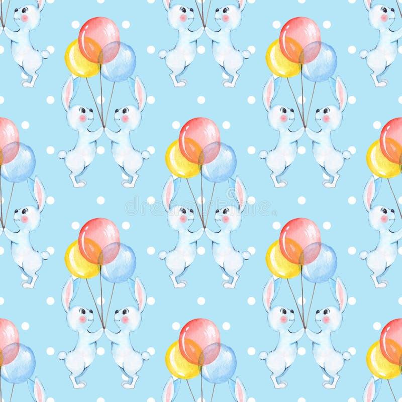 Безшовная картина с кроликами шаржа белыми и воздушными шарами 7 иллюстрация штока