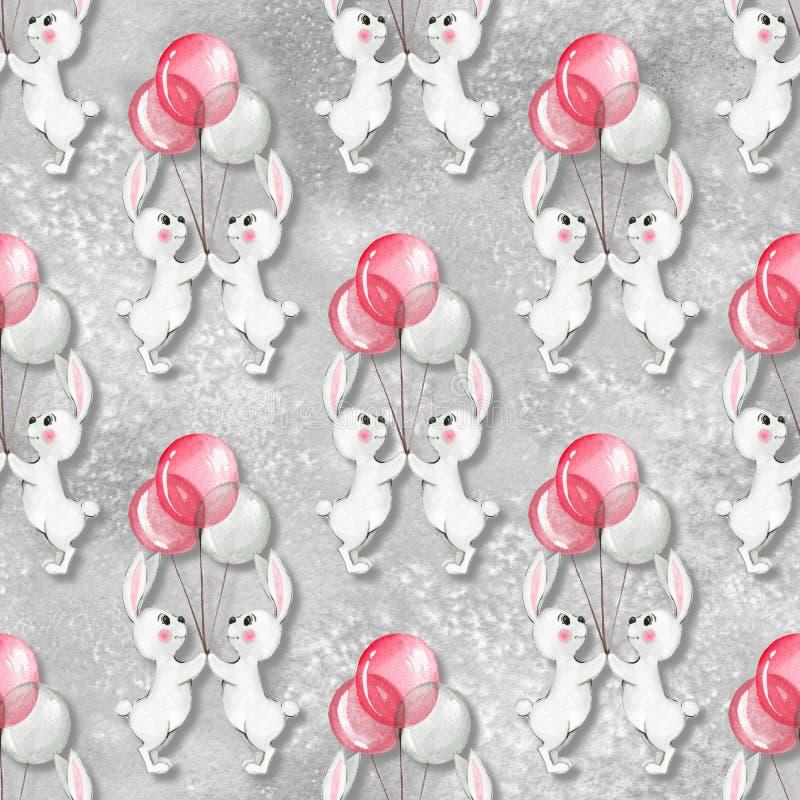 Безшовная картина с кроликами 3 шаржа белыми иллюстрация штока