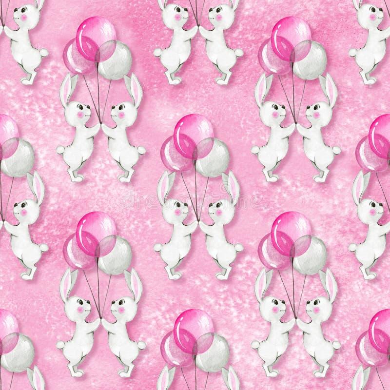 Безшовная картина с кроликами 4 шаржа белыми иллюстрация вектора
