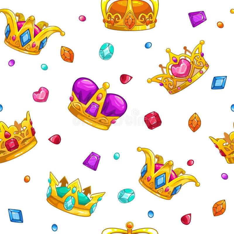 Безшовная картина с кронами короля шаржа золотыми иллюстрация вектора