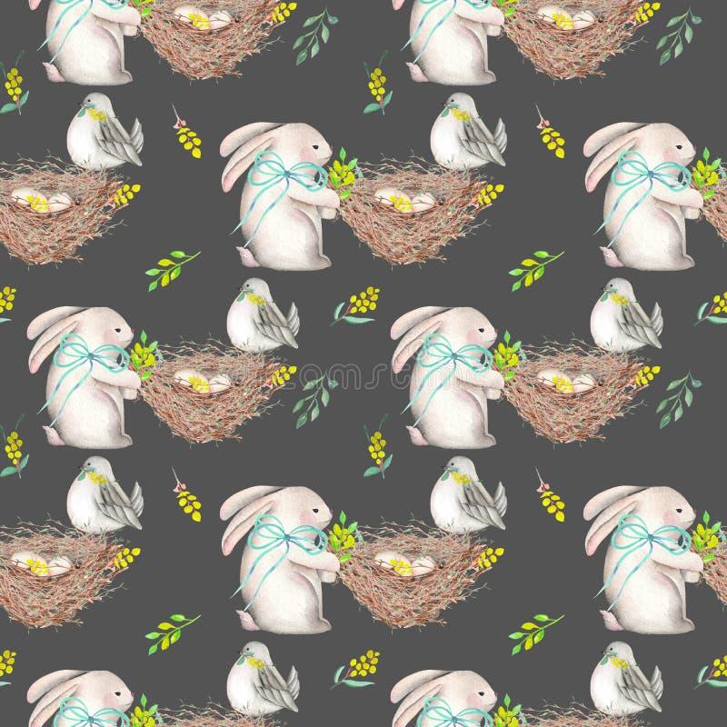 Безшовная картина с кроликами пасхи акварели, гнездами с птицей eggs иллюстрация вектора
