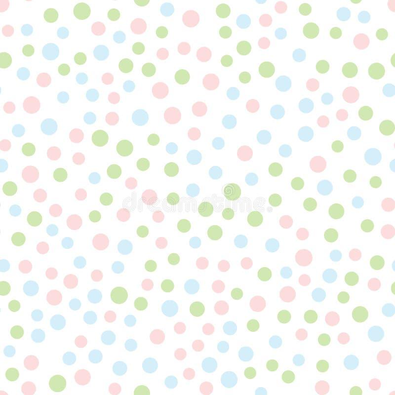 Безшовная картина с круглыми точками Розовые, голубые, зеленые круги разбросали на белую предпосылку иллюстрация штока