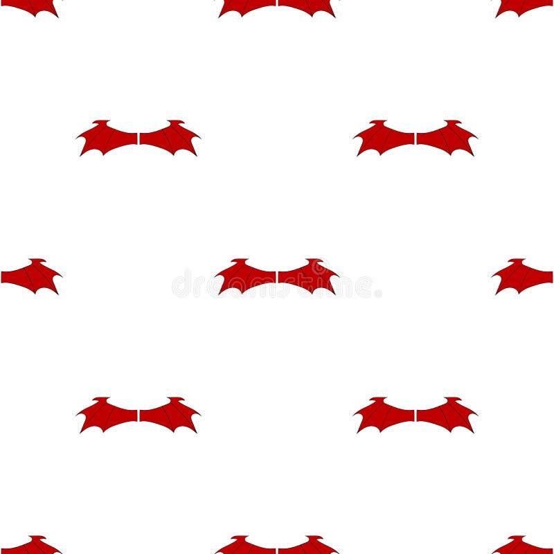 Безшовная картина с крыльями красного дьявола изолированными на белой предпосылке r иллюстрация вектора