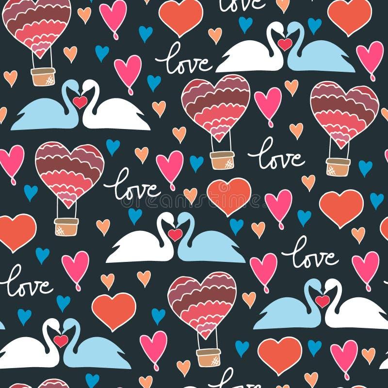 Безшовная картина с лебедями и сердцами на голубой предпосылке в векторе иллюстрация штока