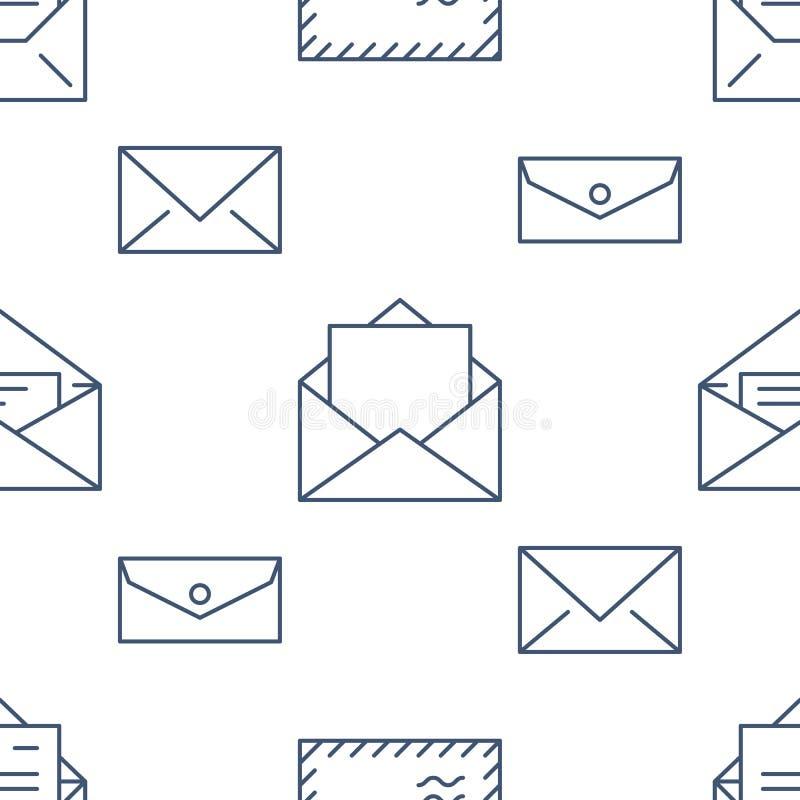 Безшовная картина с линией значками конвертов плоской Предпосылка почты, сообщение, открытый конверт с письмом, вектором электрон иллюстрация вектора